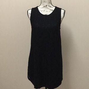 Monteau black lace shift dress